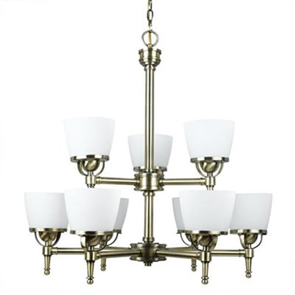 Amlite Lighting Hampton Vintage Brass 9-Light Chandelier