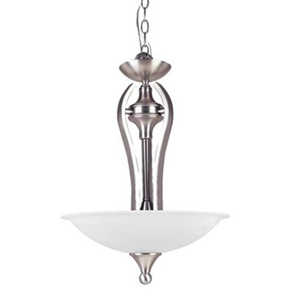 Amlite Lighting 3-Light Contempra Satin Nickel Large Bowl Pendant Light