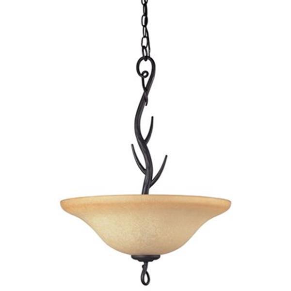 Amlite Lighting 3-Light Renaissance Forged iron Large Bowl Pendant Light