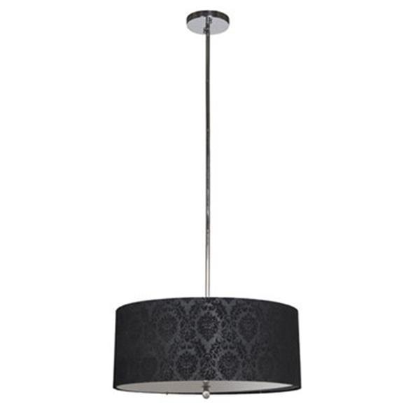 Amlite Lighting 4-Light Broadway Chrome/Black Large Pendant Light