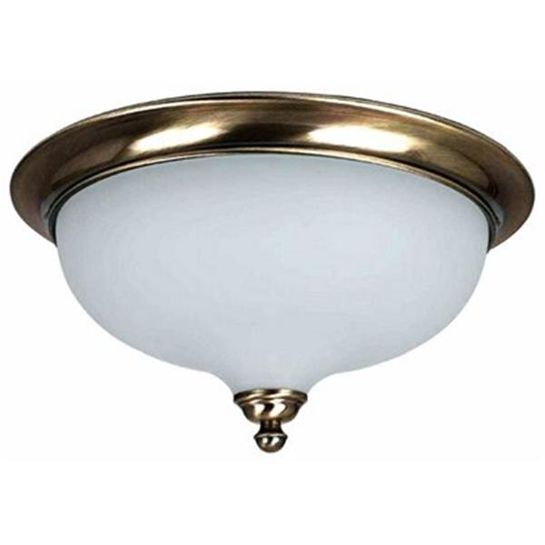 Amlite Lighting 2-Light Vintage Brass Hampton Flush Mount Ceiling Light