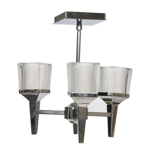 Amlite Lighting  Park Avenue 3-Light Chrome Semi Flush Ceiling Light