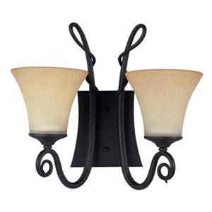 Amlite Lighting Renaissance 14-in x 18-in Forged Iron 2-Light Wall Sconce