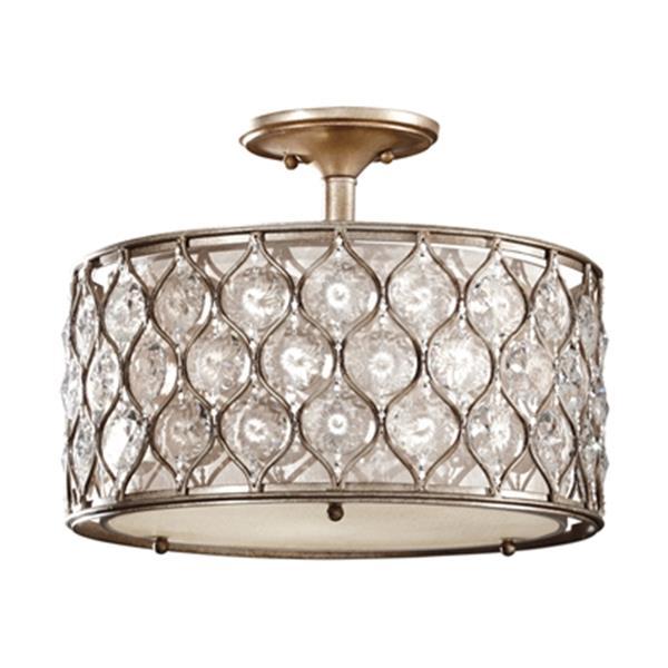 Feiss Lucia 3-Light Burnished Silver Semi Flush Ceiling Light