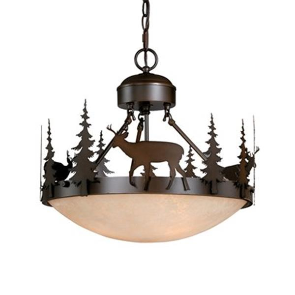 Cascadia Bryce 3-Light Bronze Rustic Deer Tree Semi Flush Ceiling Light
