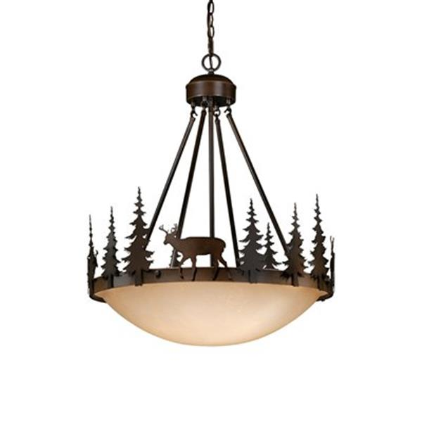 Cascadia Bryce 4-Light Bronze Rustic Deer Tree Bowl Pendant Light