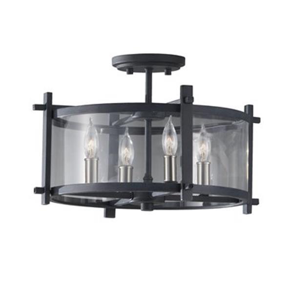 Feiss Ethan 10.5-in Brushed Steel 4-Light Indoor Semi Flush Ceiling Light