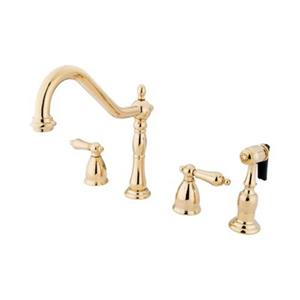 Elements of Design New Orleans Adjustable Polished Brass Kitchen Faucet With Sprayer