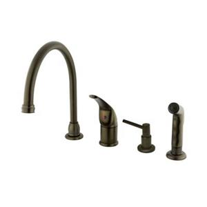 Elements of Design Single Handle Oil-Rubbed Bronze Kitchen Faucet with Soap Dispenser