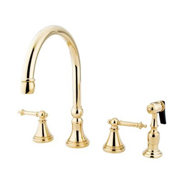 Elements of Design Tuscany Polished Brass Two Handle Kitchen Faucet With Sprayer