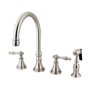 Elements of Design Two Handle Nickel Kitchen Faucet with Sprayer