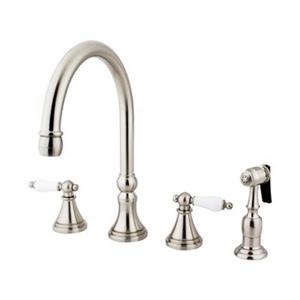 Elements of Design Satin Nickel Two Handle Kitchen Faucet With Sprayer