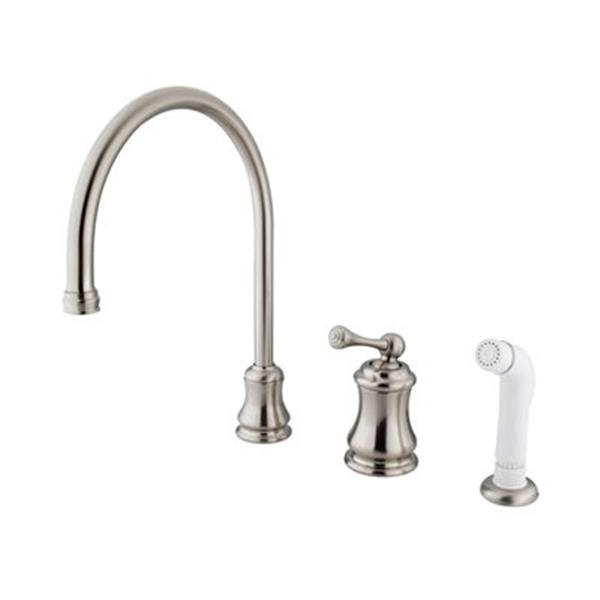 Elements of Design Chicago Nickel Widespread Buckingham Lever Kitchen Faucet With Sprayer