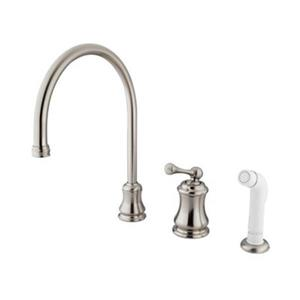 Elements of Design Chicago Nickel Widespread Buckingham Lever Kitchen Faucet With Sprayer