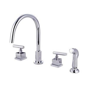 Elements of Design Claremont Widespread Two Handle Chrome Kitchen Faucet with Sprayer