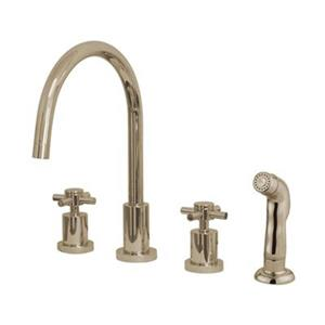 Elements of Design Cross Handle Widespread Nickel Kitchen Faucet With Sprayer