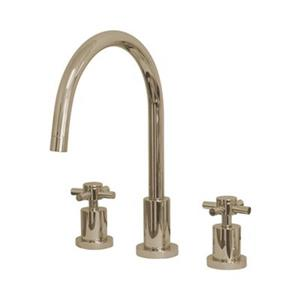 Elements of Design Cross Handle Widespread Nickel Kitchen Faucet