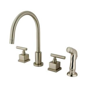 Elements of Design Claremont Widespread Nickel Two-Handle Kitchen Faucet with Sprayer