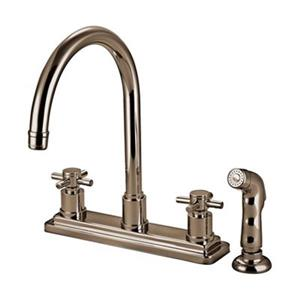 Elements of Design Cross Handle Nickel Kitchen Faucet With Sprayer