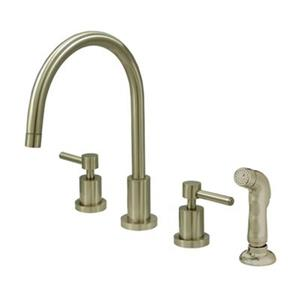 Elements of  Design Concord 11.50-in Satin Nickel Widespread Lever Handle Kitchen Faucet with Sprayer