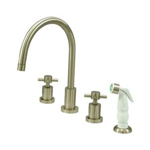 Elements of  Design Concord 11.50-in Satin Nickel Widespread Cross Handle Kitchen Faucet with Sprayer