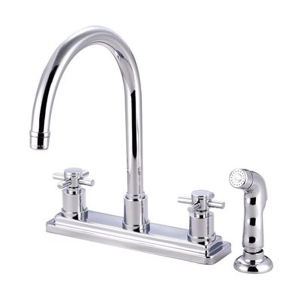 Elements Of Design Elements Of Design Concord 12 5 In Chrome Cross Handle Kitchen Faucet With Sprayer Es8791dx Rona