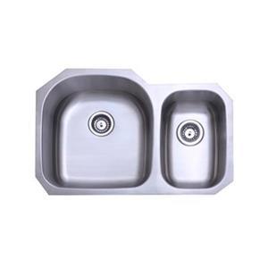 Elements of Design Centurion 31.50-in x 20.69-in Brushed Nickel Double Basin Kitchen Sink