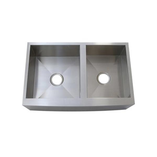 Elements of Design Denver 33-in x 21-in Brushed Nickel Double Bowl Apron Kitchen Sink