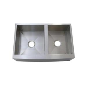 Elements of Design Denver 33-in x 21-in Brushed Nickel Double Bowl Apron Kitchen Sink