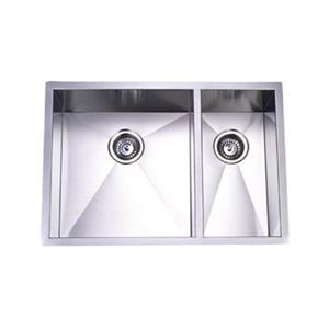 Elements of Design Gourmetier 29-in x 20.06-in Brushed Nickel Double Bowl Undermount Kitchen Sink