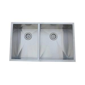 Elements of Design Gourmetier 33-in x 20.06-in Brushed Nickel Double Bowl Undermount Kitchen Sink