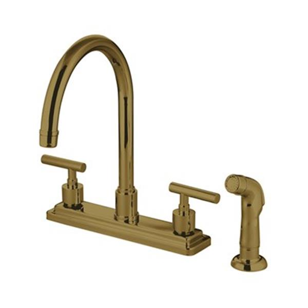 Elements of Design Manhattan 12.50-in Polished Brass Two Handle Kitchen Faucet with Sprayer