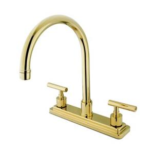 Elements of Design Manhattan 12.50-in Polished Brass Two Handle Kitchen Faucet