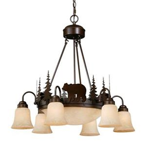 Cascadia Bozeman 9-Light Bronze Rustic Bear Chandelier