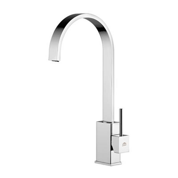 WS Bath Collections 14.70-in Chrome Level Single Handle Kitchen Faucet with Swivel Spout