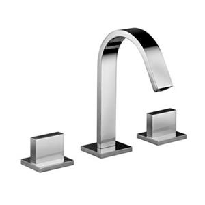 WS Bath Collections Level Linea Polished Chrome Widespread Faucet Without Waste Washbasin Mixer