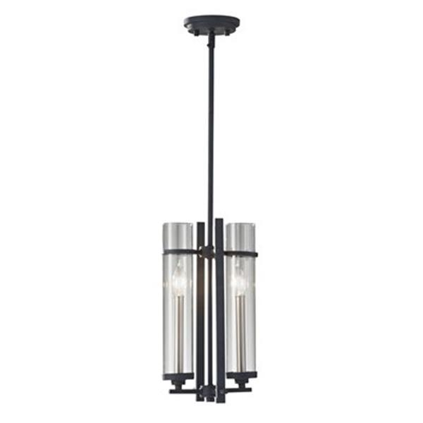 Feiss Ethan 2-Light Antique Forged Iron/Brushed Steel Mini Chandelier