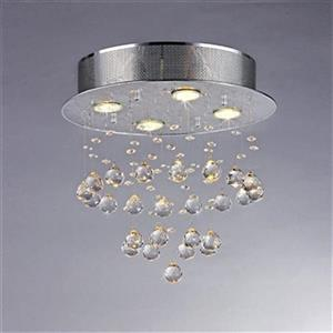 Warehouse of Tiffany Crystal Drop 16-in x 15-in Stainless Steel 5-Light Flush Mount Light