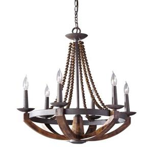 Feiss Adan 6-Light Rustic Iron/Burnished Wood Chandelier