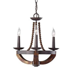 Feiss Adan 3-Light Rustic Iron/Burnished Wood Chandelier