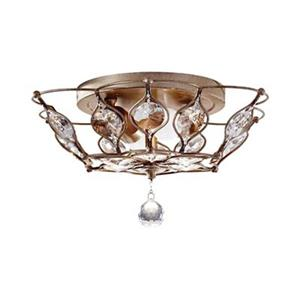 Feiss Leila 8.25-in x 15.5-in Burnished Silver 2-Light Semi-Flush Ceiling Light