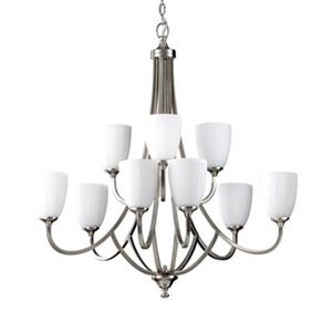 Feiss Perry 2-Tier Brushed Steel 9-Light Chandelier