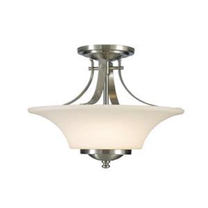 Feiss Barrington 11.5-in x 15-in Brushed Steel 2-Light Semi-Flush Ceiling Mount Light