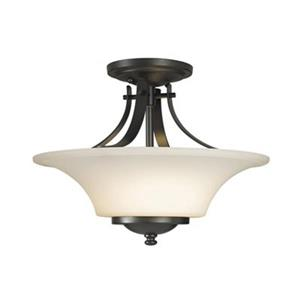Feiss Barrington 11.5-in x 15-in Oil Rubbed Bronze 2-Light Semi-Flush Ceiling Mount Light