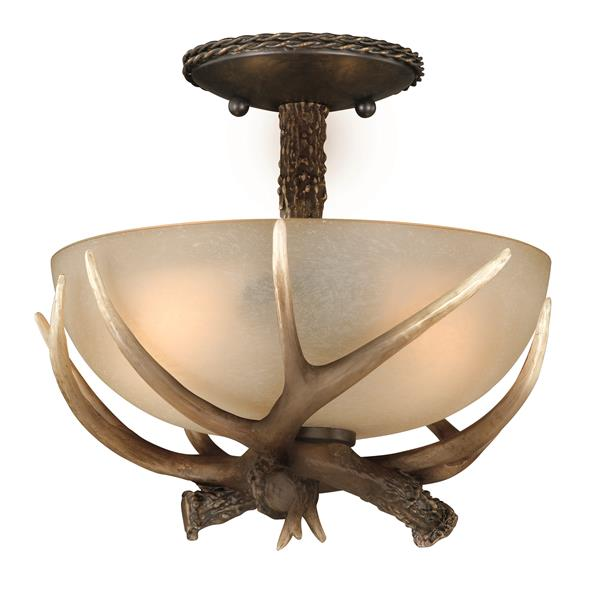 Cascadia Yoho 12-in Bronze Rustic Antler Bowl Semi Flush Ceiling Light