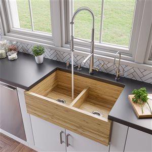 ALFI Brand 21-in x 30-in Bamboo Double Bowl Farm Kitchen Sink