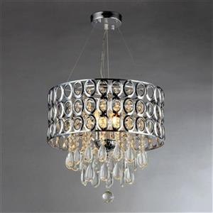 WS Bath Collections Warehouse Of Tiffany Chrome 3 Light Antoinette Crystal Large Pendant