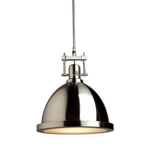 Steven & Chris by Artcraft Polished Nickel Large Broadview 1 Light Metal Pendant - Polished Nickel