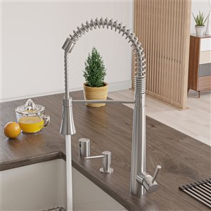 ALFI Brand 22-in Solid Stainless Steel Commercial Spring Kitchen Faucet