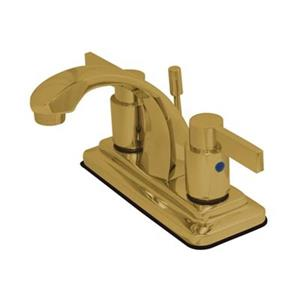 Elements of Design NuvoFusion Polished Brass Euro High Rise Spout Lavatory Faucet With Brass Pop-Up